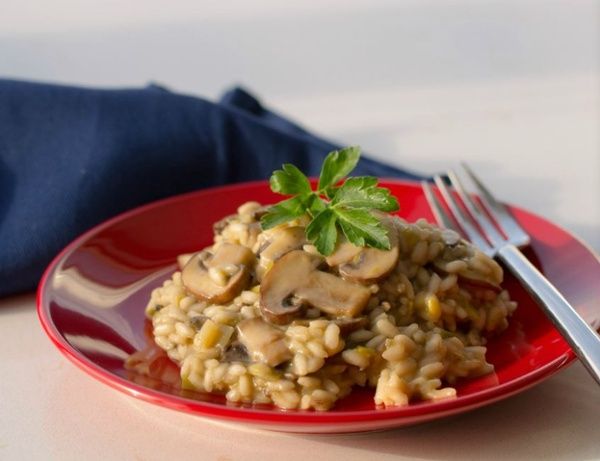 Mushroom Risotto, made with BiPro Whey Protein Isolate