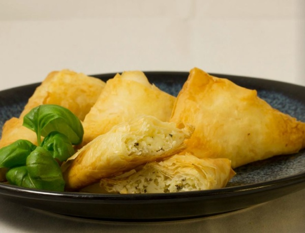 Basil-Cheese Triangles, made with BiPro Whey Protein Isolate