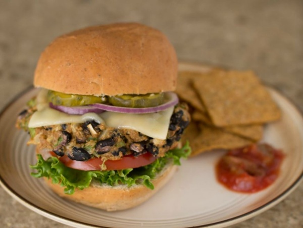 Black Bean Veggie Burgers, made with BiPro Whey Protein Isolate